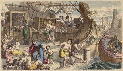Disembarkation of animals to be used in the Roman games. Illustration from Bilder aus dem Alterthume (Braun & Schneider, Munich, 19th Century).