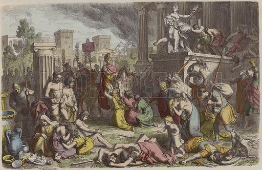 Roman soldiers looting a conquered city. Illustration from Bilder aus dem Alterthume (Braun & Schneider, Munich, 19th Century).