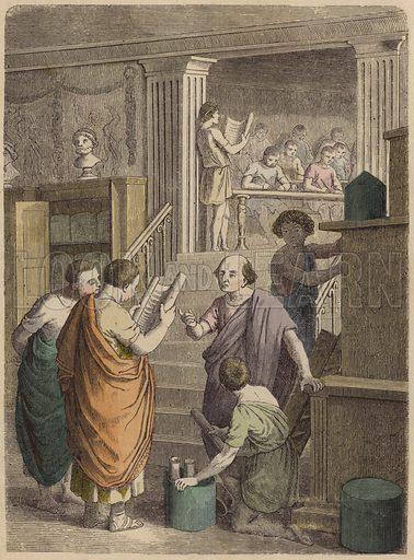 Manufacture and trade in books in Ancient Rome. Illustration from Bilder aus dem Alterthume (Braun & Schneider, Munich, 19th Century).