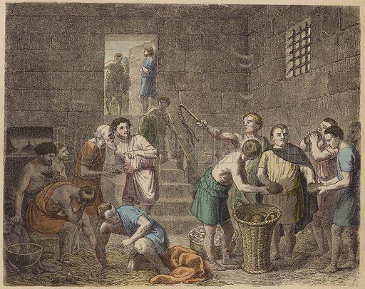 Slaves in Ancient Rome. Illustration from Bilder aus dem Alterthume (Braun & Schneider, Munich, 19th Century).