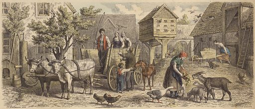 Farm in Saxony. Illustration from Die Welt in Bildern (Braun & Schneider, Munich, 19th Century).