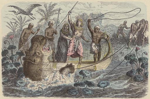 Ancient Egyptian pharaoh on a hippopotamus hunt. Illustration from Bilder aus dem Alterthume (Braun & Schneider, Munich, 19th Century).