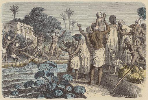 Jousting on boats in Ancient Egypt. Illustration from Bilder aus dem Alterthume (Braun & Schneider, Munich, 19th Century).
