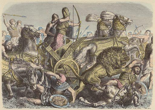 Rameses the Great of Egypt on the battlefield. Illustration from Bilder aus dem Alterthume (Braun & Schneider, Munich, 19th Century).