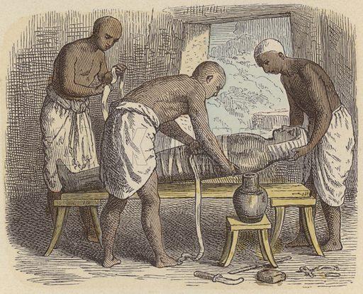 Wrapping a mummy in Ancient Egypt. Illustration from Bilder aus dem Alterthume (Braun & Schneider, Munich, 19th Century).