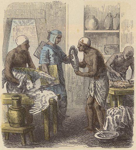 Embalming of animals in Ancient Egypt. Illustration from Bilder aus dem Alterthume (Braun & Schneider, Munich, 19th Century).