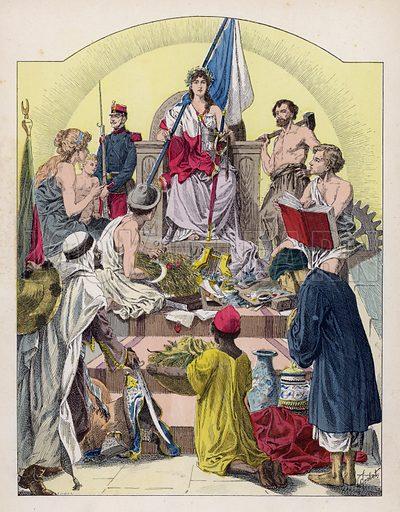 France and her empire. Illustration from Histoire de France (Theodore Lefevre et Cie, Paris, c1902).