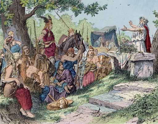 The Gauls before the Roman conquest. Illustration from Histoire de France (Theodore Lefevre et Cie, Paris, c1902).