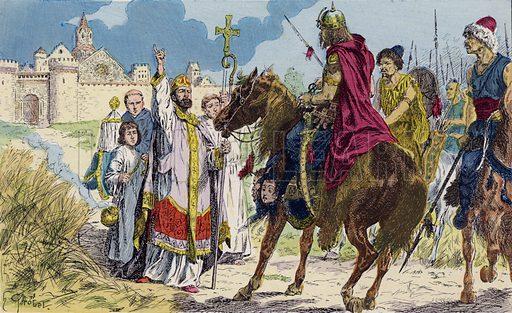 St Lupus stops Attila the Hun before Troyes, 451. Saint Loup stops Attila the Hun before Troyes, 451. Illustration from Histoire de France (Theodore Lefevre et Cie, Paris, c1902).