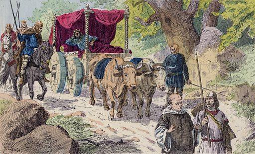 Les rois faineants (the idle kings), 670–752. Illustration from Histoire de France (Theodore Lefevre et Cie, Paris, c1902).