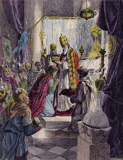 Charlemagne crowned Holy Roman Emperor by Pope Leo III, Rome, 800. Illustration from Histoire de France (Theodore Lefevre et Cie, Paris, c1902).