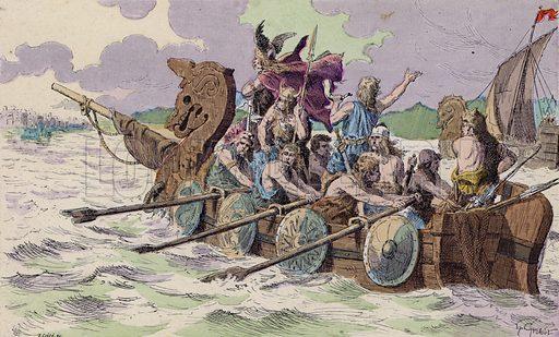The Normans arriving at Paris, 885. Illustration from Histoire de France (Theodore Lefevre et Cie, Paris, c1902).