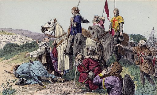 Arrival of the Crusaders before Jerusalem, 1099. Illustration from Histoire de France (Theodore Lefevre et Cie, Paris, c1902).