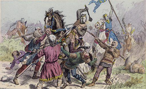 Philip Augustus at the Battle of Bouvines, 1214. Illustration from Histoire de France (Theodore Lefevre et Cie, Paris, c1902).