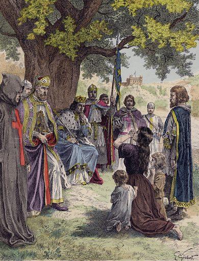 Louis IX of France dispensing justice beneath an oak tree at Vincennes, 13th century. Illustration from Histoire de France (Theodore Lefevre et Cie, Paris, c1902).