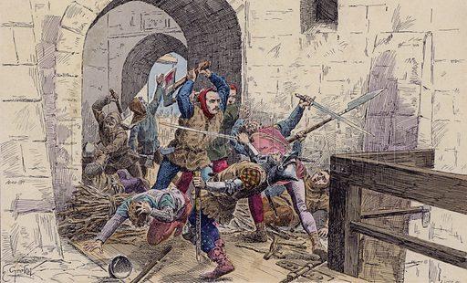 Surprise capture of the Castle of Fougeray by Bertrand du Guesclin, 1356. Illustration from Histoire de France (Theodore Lefevre et Cie, Paris, c1902).