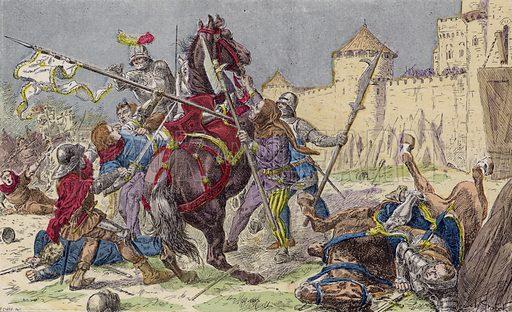 Capture of Joan of Arc by the Burgundians, 1430. Illustration from Histoire de France (Theodore Lefevre et Cie, Paris, c1902).