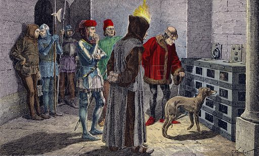 King Louis XI before the cage of his captive, Cardinal Balue. Louis XI watching Cardinal Balue, imprisoned in an iron cage in the dungeons of the Chateau d'Onzain for intriguing with his enemy Charles the Bold, Duke of Burgundy. Illustration from Histoire de France (Theodore Lefevre et Cie, Paris, c1902).
