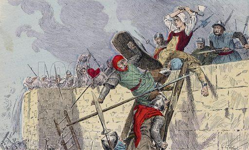 Jeanne Hachette at the Siege of Beauvais, 1472. Illustration from Histoire de France (Theodore Lefevre et Cie, Paris, c1902).