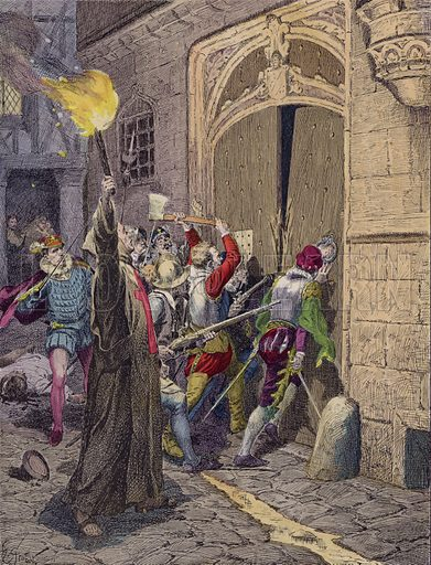 The St Bartholomew's Day Massacre, Paris, 1572. Illustration from Histoire de France (Theodore Lefevre et Cie, Paris, c1902).