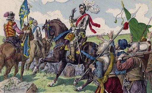 Henry IV of France at the Battle of Ivry, 1590. Illustration from Histoire de France (Theodore Lefevre et Cie, Paris, c1902).