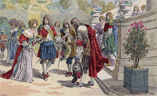 Louis XIV of France and his court at Versailles. Illustration from Histoire de France (Theodore Lefevre et Cie, Paris, c1902).