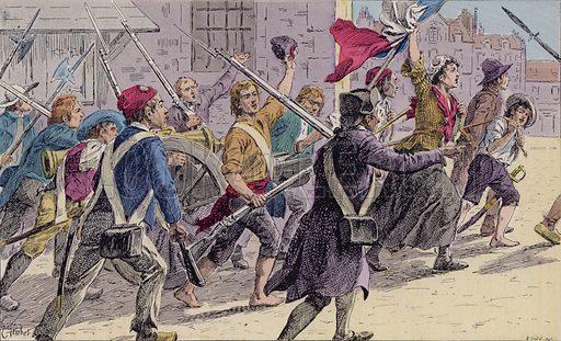 French revolutionaries on the streets of Paris, 14 July 1789. Illustration from Histoire de France (Theodore Lefevre et Cie, Paris, c1902).