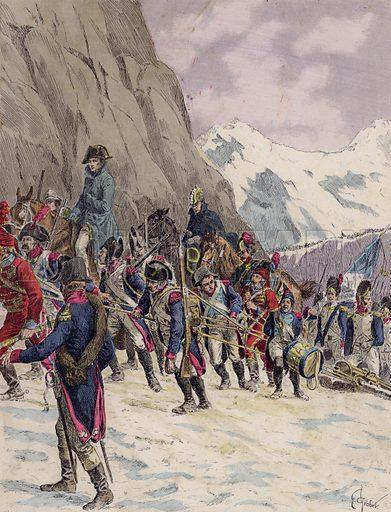 Napoleon leading his army across the Alps, 1800. Illustration from Histoire de France (Theodore Lefevre et Cie, Paris, c1902).