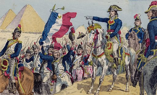 Napoleon at the Battle of the Pyramids, Egypt, 1798. Illustration from Histoire de France (Theodore Lefevre et Cie, Paris, c1902).