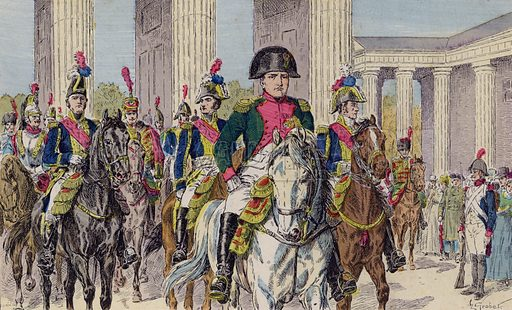Napoleon entering Berlin at the head of his army, 1806. Illustration from Histoire de France (Theodore Lefevre et Cie, Paris, c1902).