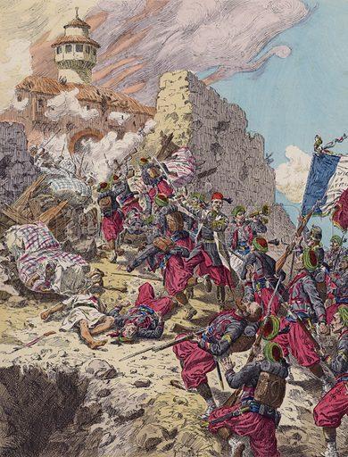 Capture of Constantine, Algeria, by the French, 1837. Illustration from Histoire de France (Theodore Lefevre et Cie, Paris, c1902).