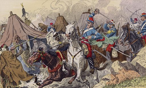 The French capturing the camp of Abd-el-Kader, Algeria, 1842. Illustration from Histoire de France (Theodore Lefevre et Cie, Paris, c1902).