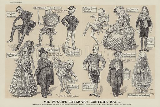 Mr Punch's Literary Costume Ball. Illustration from Punch's Almanac for 1912.
