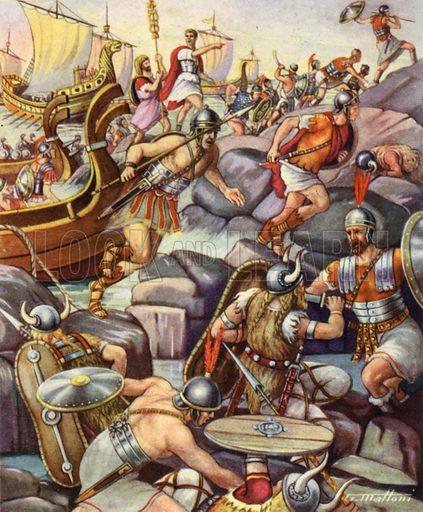 The Romans landing in Britain.