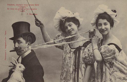 """Femmes, souvent vous croyez faire """"Chopin"""" et vous ne gobez qu'un vulgaire """"Lapin"""". Humorous French postcard."""