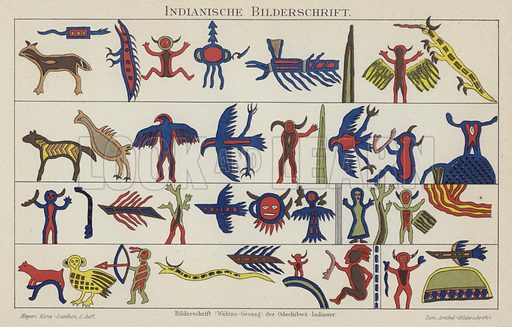 Native American pictographs. Illustration from Meyer's Konversations-Lexicon, c1895.