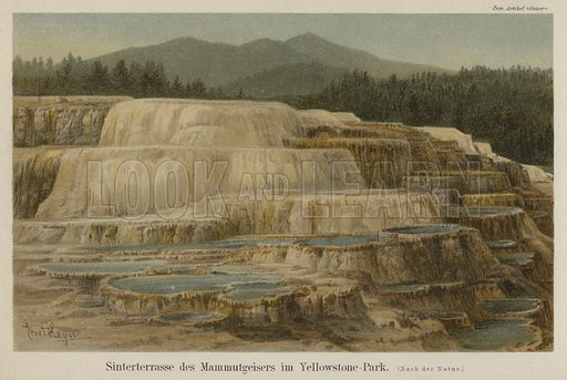 Calcareous sinter terraces at Mammoth Hot Springs in Yellowstone National Park, Wyoming. Illustration from Meyer's Konversations-Lexicon, c1895.