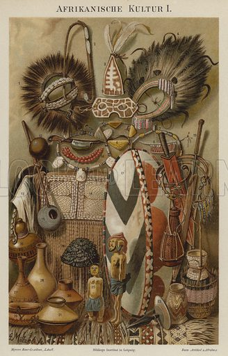 African cultural artefacts. Illustration from Meyer's Konversations-Lexicon, c1895.