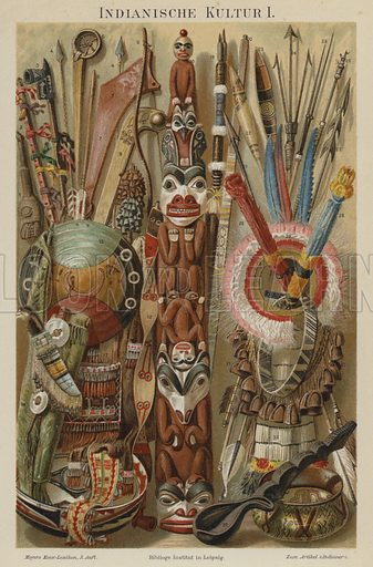Native American cultural artefacts. Illustration from Meyer's Konversations-Lexicon, c1895.
