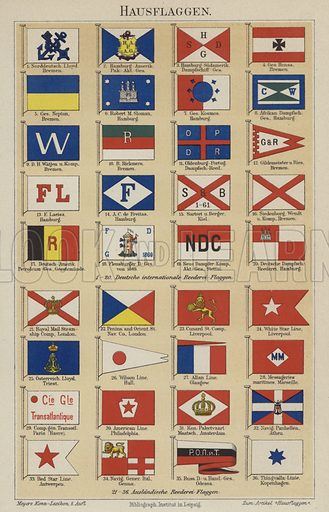 Flags of shipping lines and companies. Illustration from Meyer's Konversations-Lexicon, c1895.