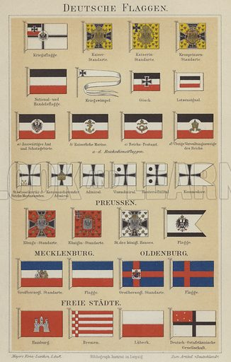 German flags. Illustration from Meyer's Konversations-Lexicon, c1895.