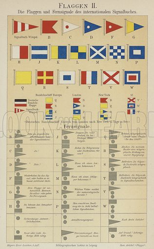 Flags and signals of the international maritime signalling code. Illustration from Meyer's Konversations-Lexicon, c1895.