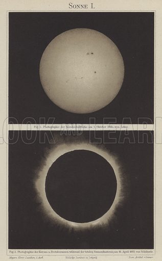 The Sun. Illustration from Meyer's Konversations-Lexicon, c1895.