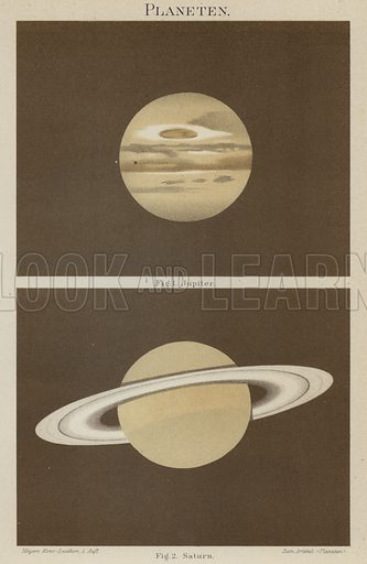 Jupiter and Saturn. Illustration from Meyer's Konversations-Lexicon, c1895.