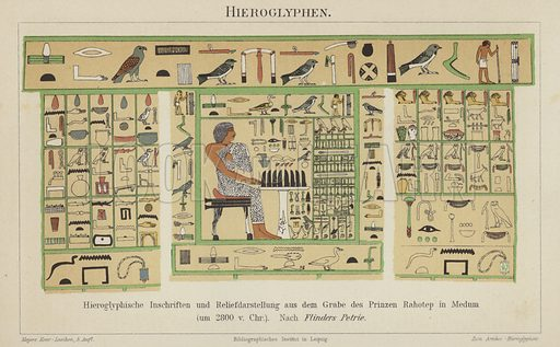 Ancient Egyptian hieroglyphs. Hieroglyphs and relief from the tomb of Prince Rahotep at Meidum, c2800 BC Illustration from Meyer's Konversations-Lexicon, c1895.