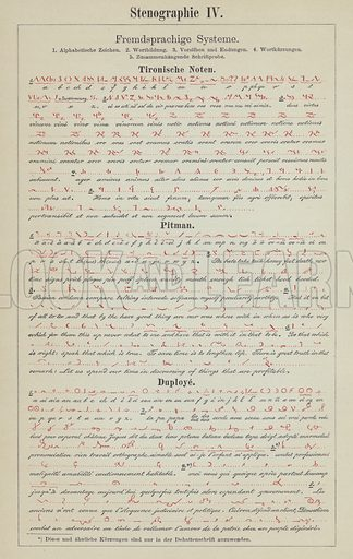 Examples of shorthand writing systems. Illustration from Meyer's Konversations-Lexicon, c1895.