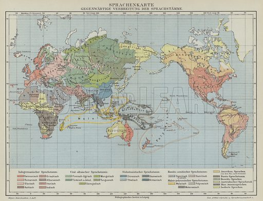 Map of global distribution of languages and linguistic groups. Illustration from Meyer's Konversations-Lexicon, c1895.