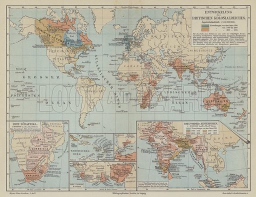 Map showing the expansion of the British Empire. Illustration from Meyer's Konversations-Lexicon, c1895.