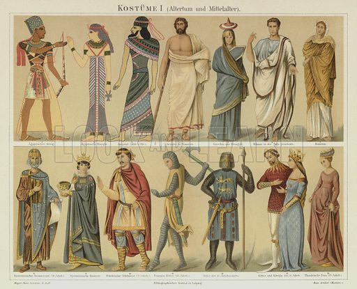 Ancient and medieval costumes. Illustration from Meyer's Konversations-Lexicon, c1895.