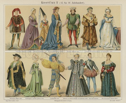 Costumes of the 15th and 16th Century. Illustration from Meyer's Konversations-Lexicon, c1895.